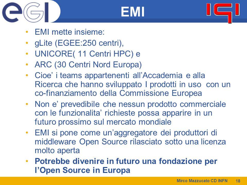 Mirco Mazzucato CD INFN 18 EMI EMI mette insieme: gLite (EGEE:250 centri), UNICORE( 11 Centri HPC) e ARC (30 Centri Nord Europa) Cioe i teams appartenenti allAccademia e alla Ricerca che hanno sviluppato I prodotti in uso con un co-finanziamento della Commissione Europea Non e prevedibile che nessun prodotto commerciale con le funzionalita richieste possa apparire in un futuro prossimo sul mercato mondiale EMI si pone come unaggregatore dei produttori di middleware Open Source rilasciato sotto una licenza molto aperta Potrebbe divenire in futuro una fondazione per lOpen Source in Europa