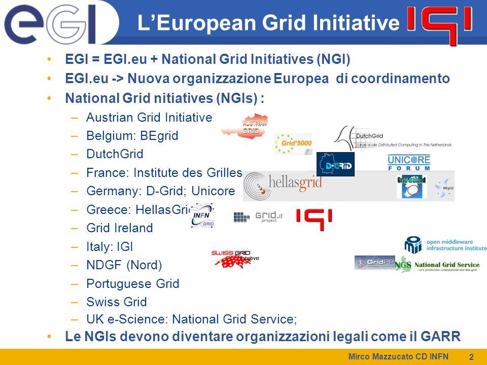Mirco Mazzucato CD INFN 2 LEuropean Grid Initiative EGI = EGI.eu + National Grid Initiatives (NGI) EGI.eu -> Nuova organizzazione Europea di coordinamento National Grid nitiatives (NGIs) : –Austrian Grid Initiative –Belgium: BEgrid –DutchGrid –France: Institute des Grilles –Germany: D-Grid; Unicore –Greece: HellasGrid –Grid Ireland –Italy: IGI –NDGF (Nord) –Portuguese Grid –Swiss Grid –UK e-Science: National Grid Service; Le NGIs devono diventare organizzazioni legali come il GARR