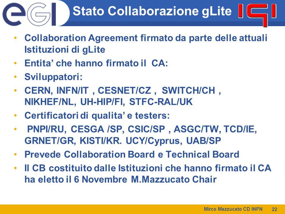 Stato Collaborazione gLite Collaboration Agreement firmato da parte delle attuali Istituzioni di gLite Entita che hanno firmato il CA: Sviluppatori: CERN, INFN/IT, CESNET/CZ, SWITCH/CH, NIKHEF/NL, UH-HIP/FI, STFC-RAL/UK Certificatori di qualita e testers: PNPI/RU, CESGA /SP, CSIC/SP, ASGC/TW, TCD/IE, GRNET/GR, KISTI/KR.
