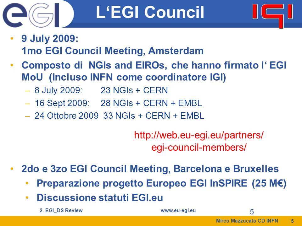 Mirco Mazzucato CD INFN 6 2. EGI_DS Reviewwww.eu-egi.eu 6 EGI Council Members (16-Sett-2009)