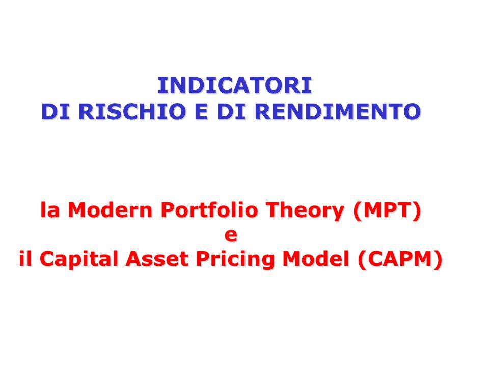 Il modello di Markowitz Scopo del modello: Definire il portafoglio ottimale in grado di offrire il massimo rendimento atteso per un dato livello di rischio o, viceversa, il minimo rischio per un dato valore di rendimento atteso