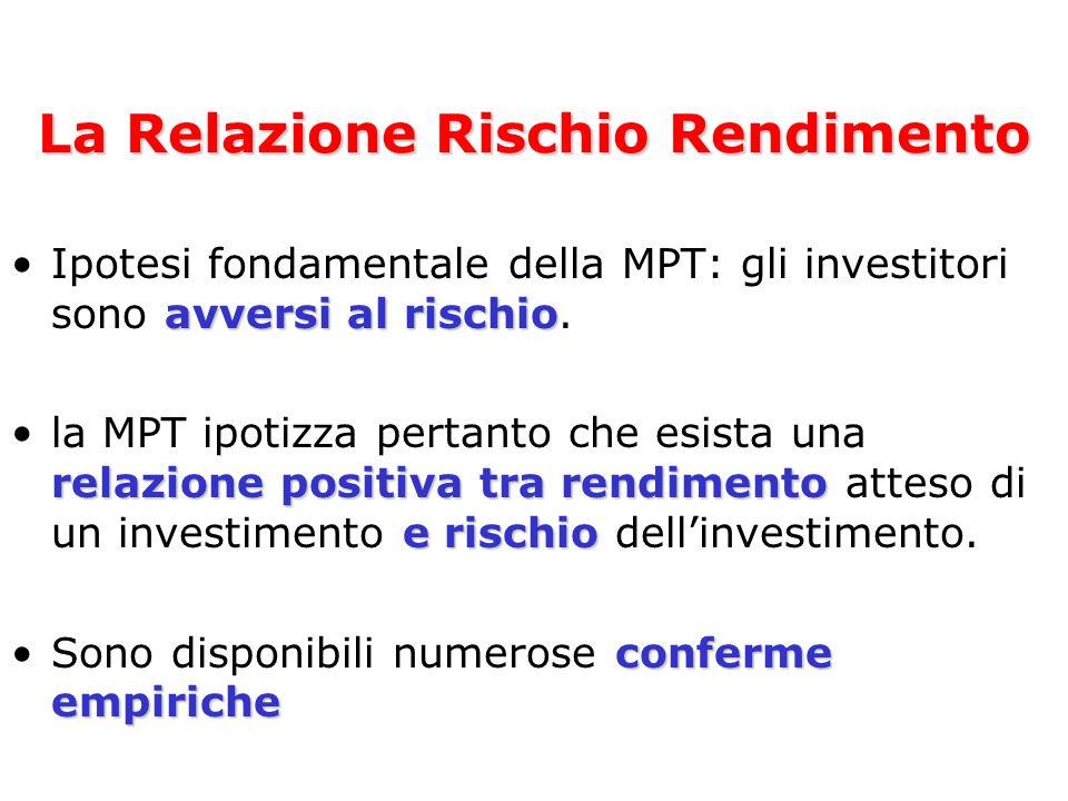 avversi al rischioIpotesi fondamentale della MPT: gli investitori sono avversi al rischio. relazione positiva tra rendimento e rischiola MPT ipotizza