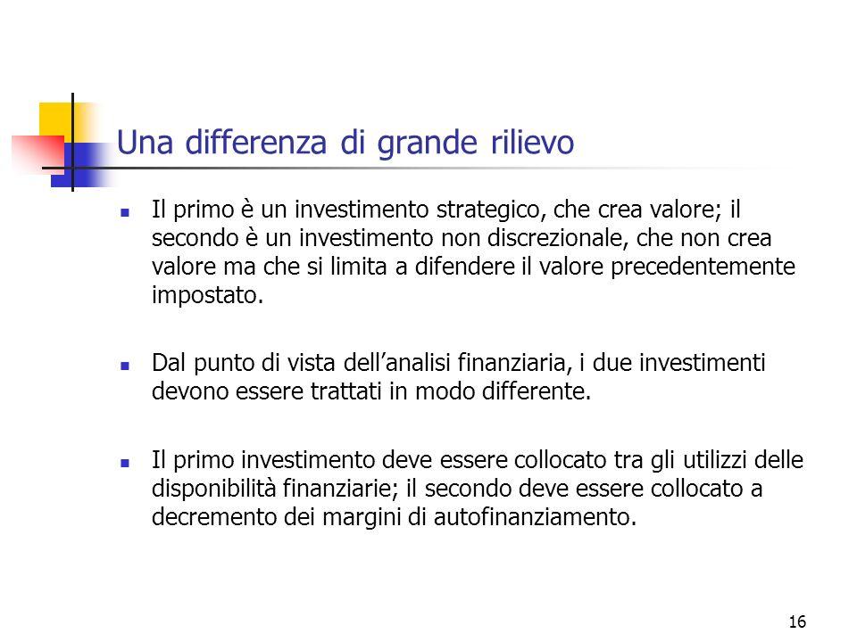 16 Una differenza di grande rilievo Il primo è un investimento strategico, che crea valore; il secondo è un investimento non discrezionale, che non crea valore ma che si limita a difendere il valore precedentemente impostato.
