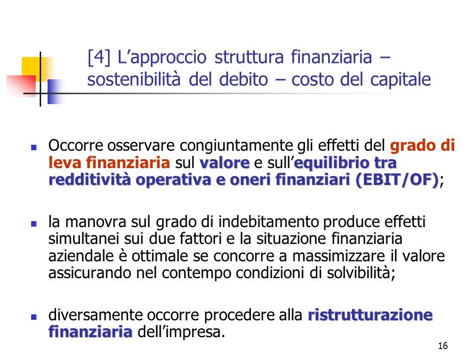 16 valoreequilibrio tra redditività operativa e oneri finanziari (EBIT/OF) Occorre osservare congiuntamente gli effetti del grado di leva finanziaria sul valore e sullequilibrio tra redditività operativa e oneri finanziari (EBIT/OF); la manovra sul grado di indebitamento produce effetti simultanei sui due fattori e la situazione finanziaria aziendale è ottimale se concorre a massimizzare il valore assicurando nel contempo condizioni di solvibilità; ristrutturazione finanziaria diversamente occorre procedere alla ristrutturazione finanziaria dellimpresa.