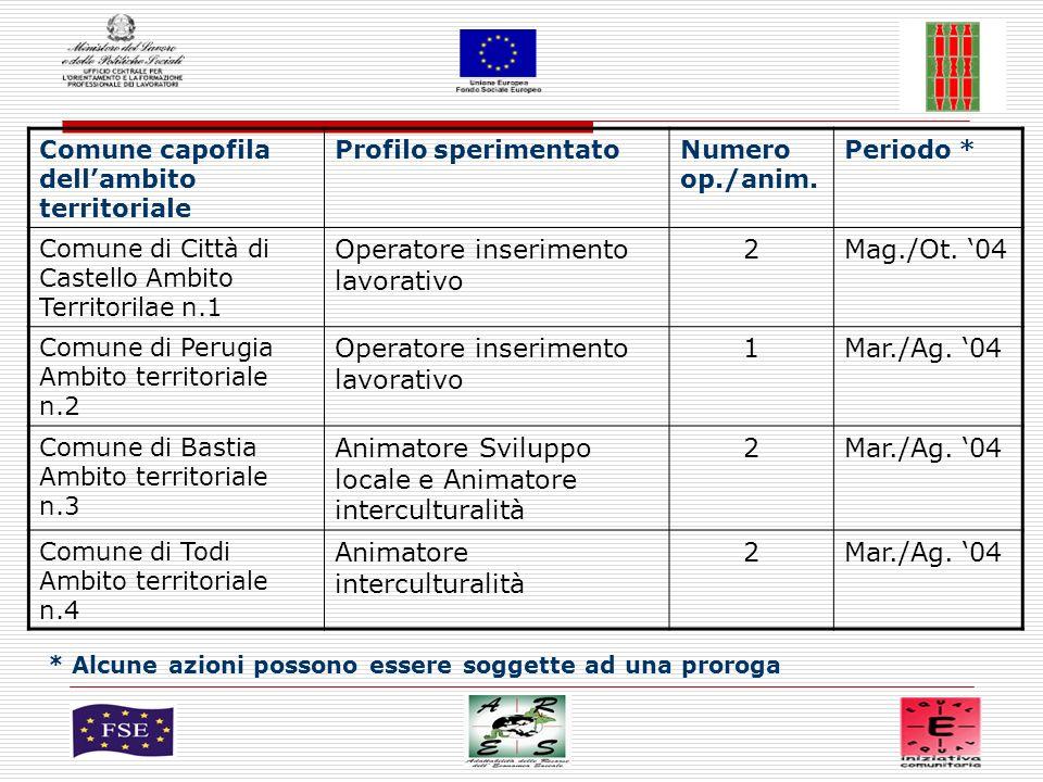 2 Comune capofila dellambito territoriale Profilo sperimentatoNumero op./anim.