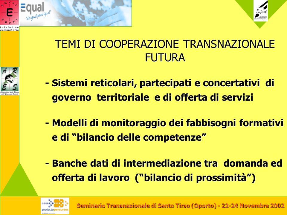 Seminario Transnazionale di Santo Tirso (Oporto) - 22-24 Novembre 2002 TEMI DI COOPERAZIONE TRANSNAZIONALE FUTURA - Sistemi reticolari, partecipati e