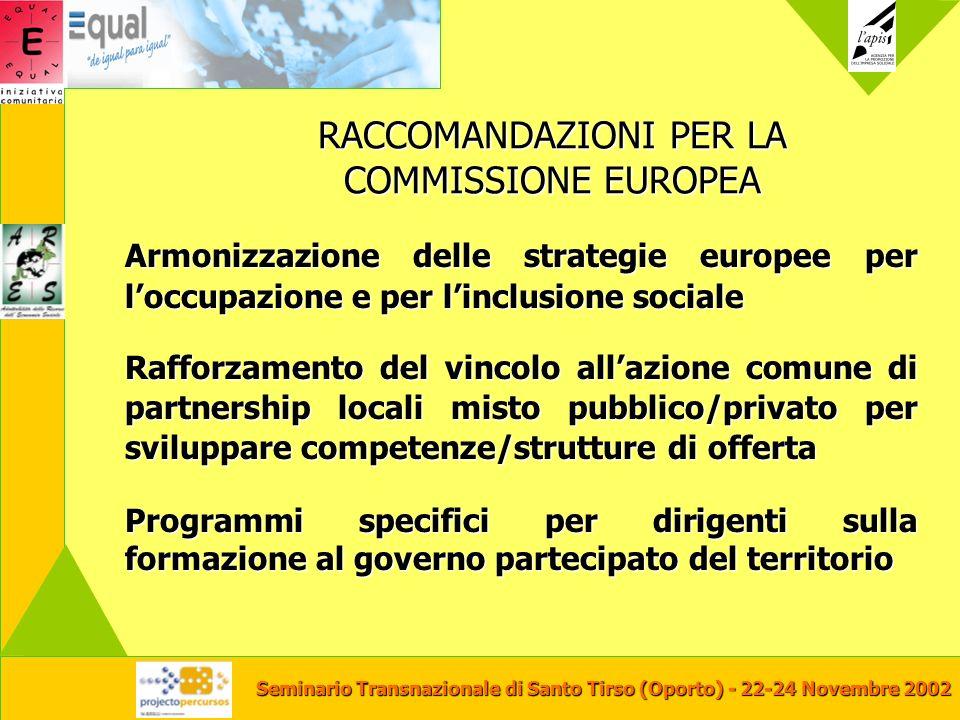 Seminario Transnazionale di Santo Tirso (Oporto) - 22-24 Novembre 2002 RACCOMANDAZIONI PER LA COMMISSIONE EUROPEA Armonizzazione delle strategie europ