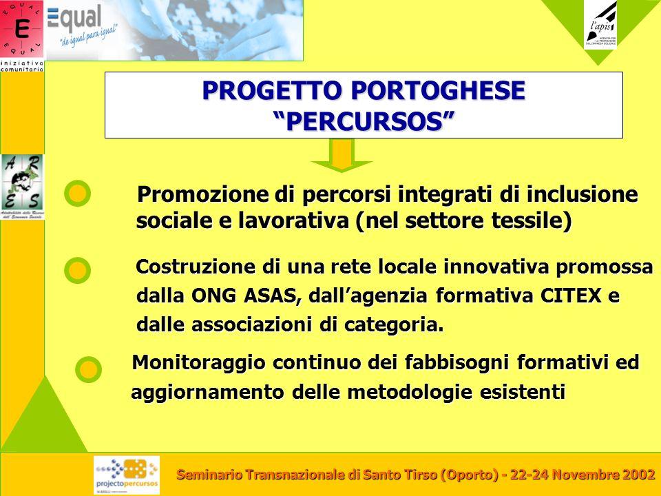 Seminario Transnazionale di Santo Tirso (Oporto) - 22-24 Novembre 2002 Promozione di percorsi integrati di inclusione sociale e lavorativa (nel settor