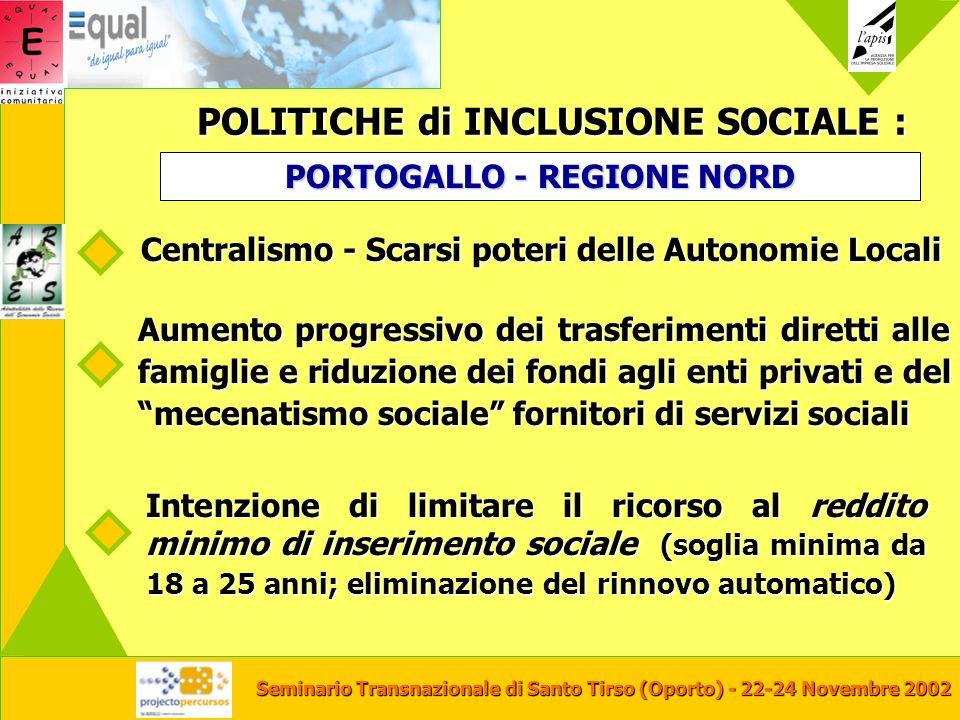 Seminario Transnazionale di Santo Tirso (Oporto) - 22-24 Novembre 2002 POLITICHE di INCLUSIONE SOCIALE : Centralismo - Scarsi poteri delle Autonomie L