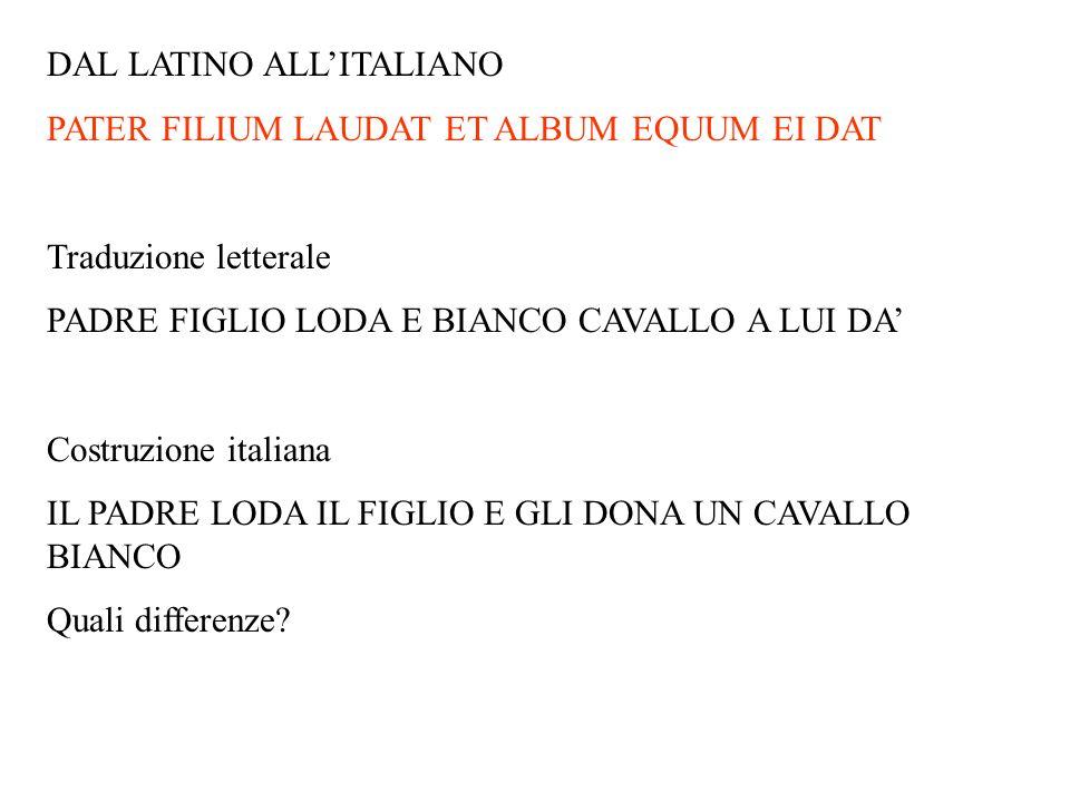 DAL LATINO ALLITALIANO PATER FILIUM LAUDAT ET ALBUM EQUUM EI DAT Traduzione letterale PADRE FIGLIO LODA E BIANCO CAVALLO A LUI DA Costruzione italiana
