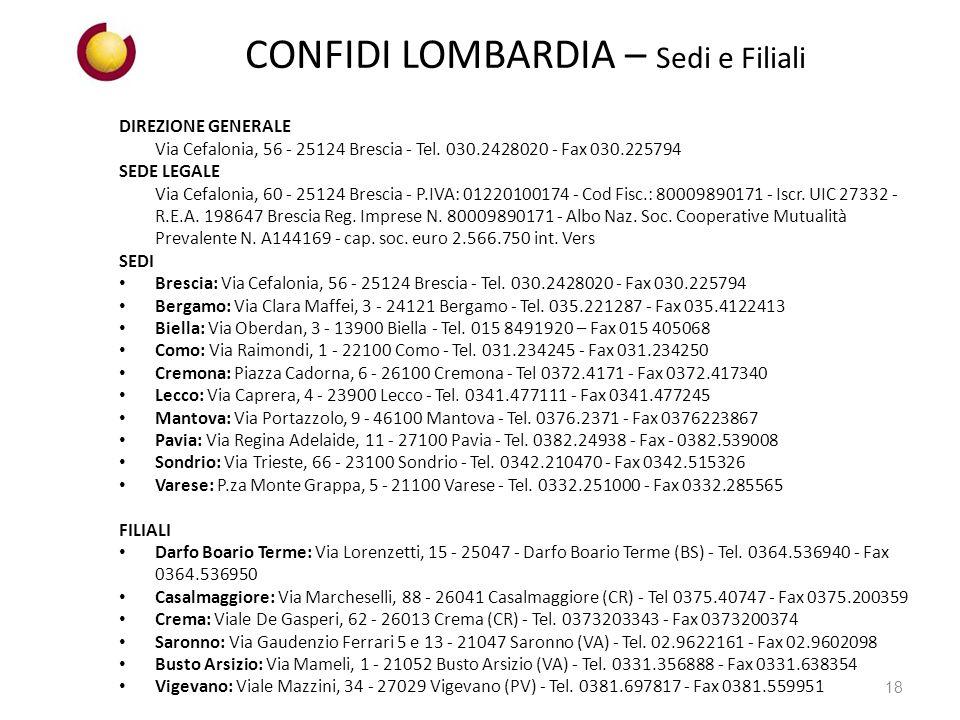 CONFIDI LOMBARDIA – Sedi e Filiali DIREZIONE GENERALE Via Cefalonia, 56 - 25124 Brescia - Tel.