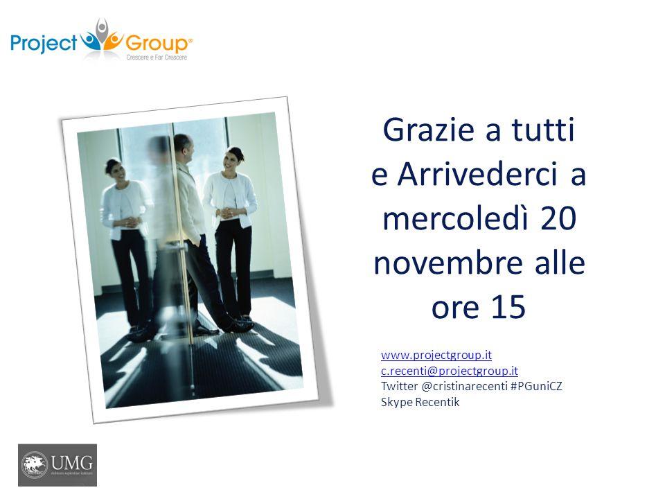 Grazie a tutti e Arrivederci a mercoledì 20 novembre alle ore 15 www.projectgroup.it c.recenti@projectgroup.it Twitter @cristinarecenti #PGuniCZ Skype Recentik