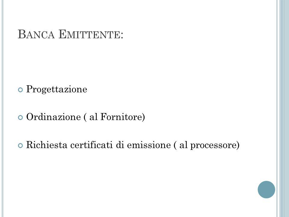 B ANCA E MITTENTE : Progettazione Ordinazione ( al Fornitore) Richiesta certificati di emissione ( al processore)
