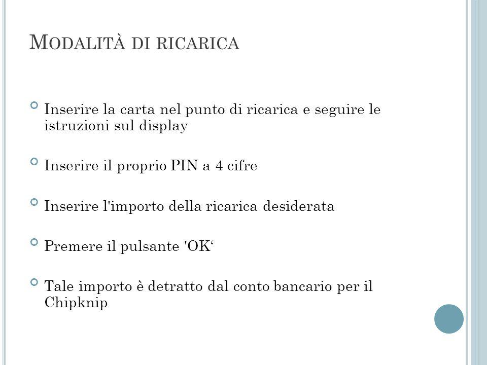 M ODALITÀ DI RICARICA Inserire la carta nel punto di ricarica e seguire le istruzioni sul display Inserire il proprio PIN a 4 cifre Inserire l'importo