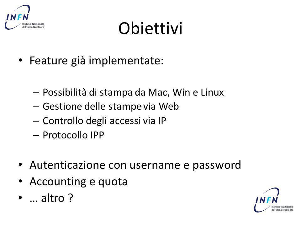 Obiettivi Feature già implementate: – Possibilità di stampa da Mac, Win e Linux – Gestione delle stampe via Web – Controllo degli accessi via IP – Pro