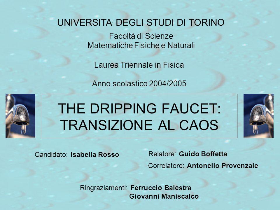 THE DRIPPING FAUCET: TRANSIZIONE AL CAOS Relatore: Guido Boffetta UNIVERSITA DEGLI STUDI DI TORINO Facoltà di Scienze Matematiche Fisiche e Naturali L