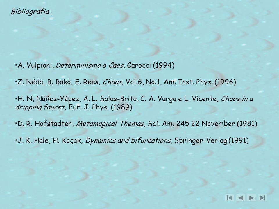Bibliografia… A. Vulpiani, Determinismo e Caos, Carocci (1994) Z. Néda, B. Bakό, E. Rees, Chaos, Vol.6, No.1, Am. Inst. Phys. (1996) H. N, Núñez-Yépez