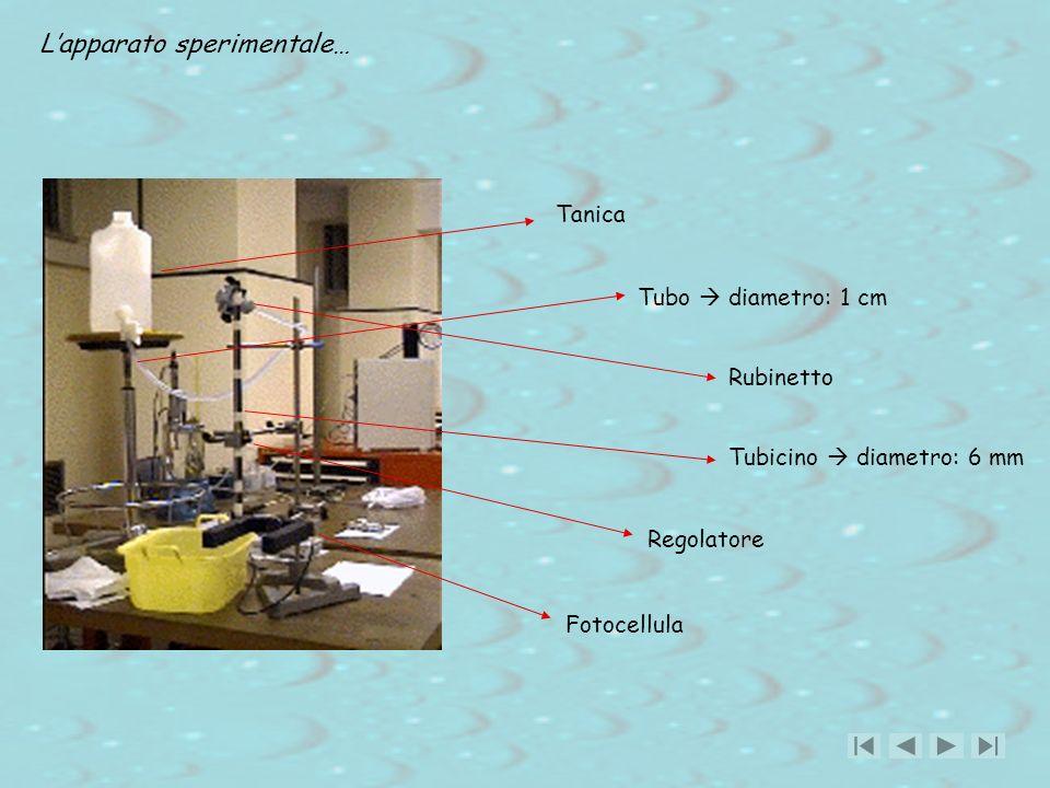 Lapparato sperimentale… Tanica Tubo diametro: 1 cm Rubinetto Tubicino diametro: 6 mm Regolatore Fotocellula
