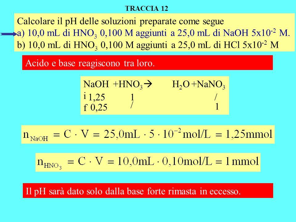 Calcolare il pH delle soluzioni preparate come segue a) 10,0 mL di HNO 3 0,100 M aggiunti a 25,0 mL di NaOH 5x10 -2 M.