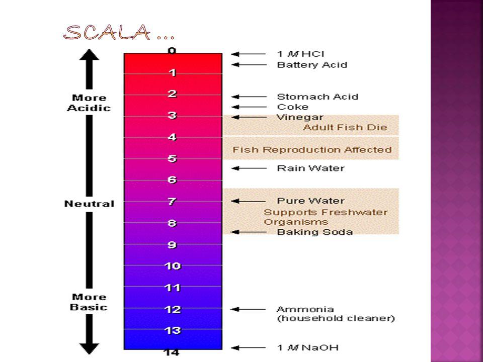Acido cloridrico 1,00 Batteria acida 1,5 Succo gastrico 1,5-2,0 Succo di limone 2,4 coca cola 2,5 aceto 2,9 Succo darancia o mela 3,5 birra 4,5 Pioggia acida < 5,0 caffè 5,5 Tè o pelle sane 5,5 Acqua deionizzata 25°C° 5,0-6,0 latte 6,5 Acqua pura 25° C° 7,0