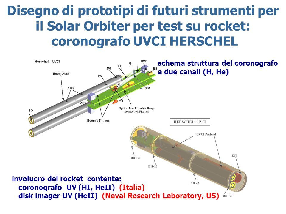 Disegno di prototipi di futuri strumenti per il Solar Orbiter per test su rocket: coronografo UVCI HERSCHEL schema struttura del coronografo a due canali (H, He) involucro del rocket contente: coronografo UV (HI, HeII) (Italia) disk imager UV (HeII) (Naval Research Laboratory, US)