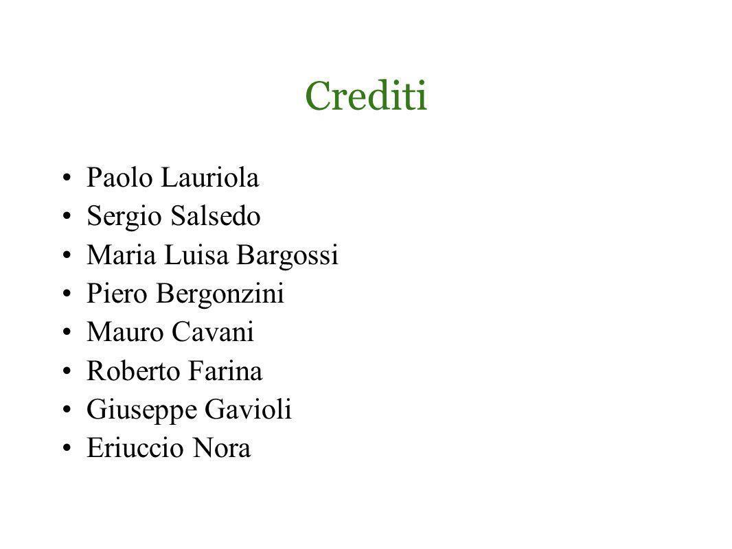 Crediti Paolo Lauriola Sergio Salsedo Maria Luisa Bargossi Piero Bergonzini Mauro Cavani Roberto Farina Giuseppe Gavioli Eriuccio Nora