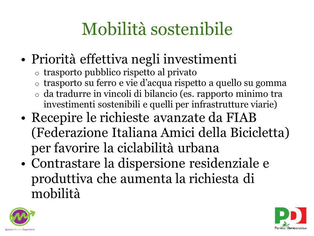 Mobilità sostenibile Priorità effettiva negli investimenti o trasporto pubblico rispetto al privato o trasporto su ferro e vie dacqua rispetto a quello su gomma o da tradurre in vincoli di bilancio (es.