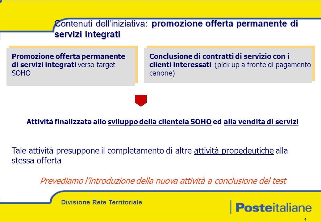 Divisione Rete Territoriale 4 Promozione offerta permanente di servizi integrati verso target SOHO Conclusione di contratti di servizio con i clienti