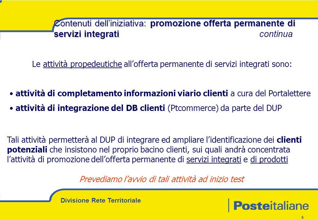 Divisione Rete Territoriale 5 Contenuti delliniziativa: promozione offerta permanente di servizi integrati Contenuti delliniziativa: promozione offert