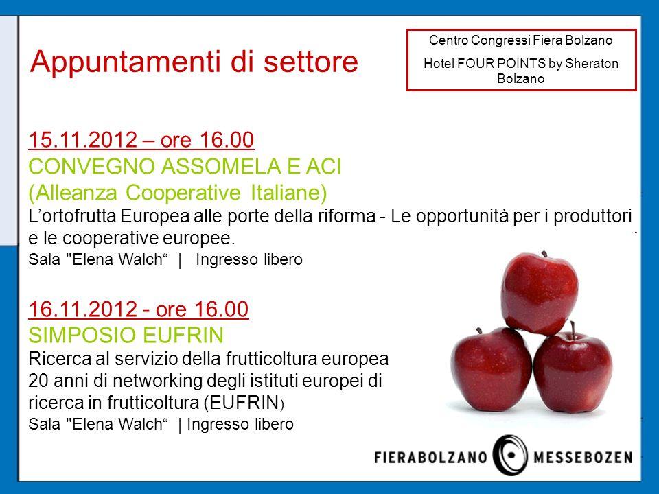 Appuntamenti di settore Centro Congressi Fiera Bolzano Hotel FOUR POINTS by Sheraton Bolzano 15.11.2012 – ore 16.00 CONVEGNO ASSOMELA E ACI (Alleanza