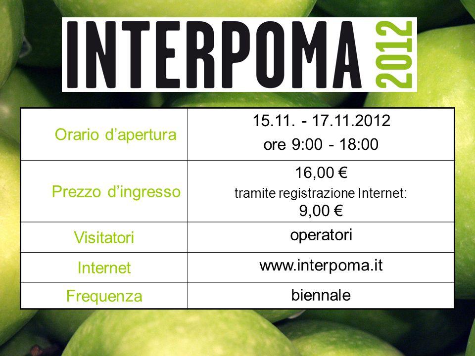 Orario dapertura 15.11. - 17.11.2012 ore 9:00 - 18:00 Prezzo dingresso 16,00 tramite registrazione Internet: 9,00 Visitatori operatori Internet www.in