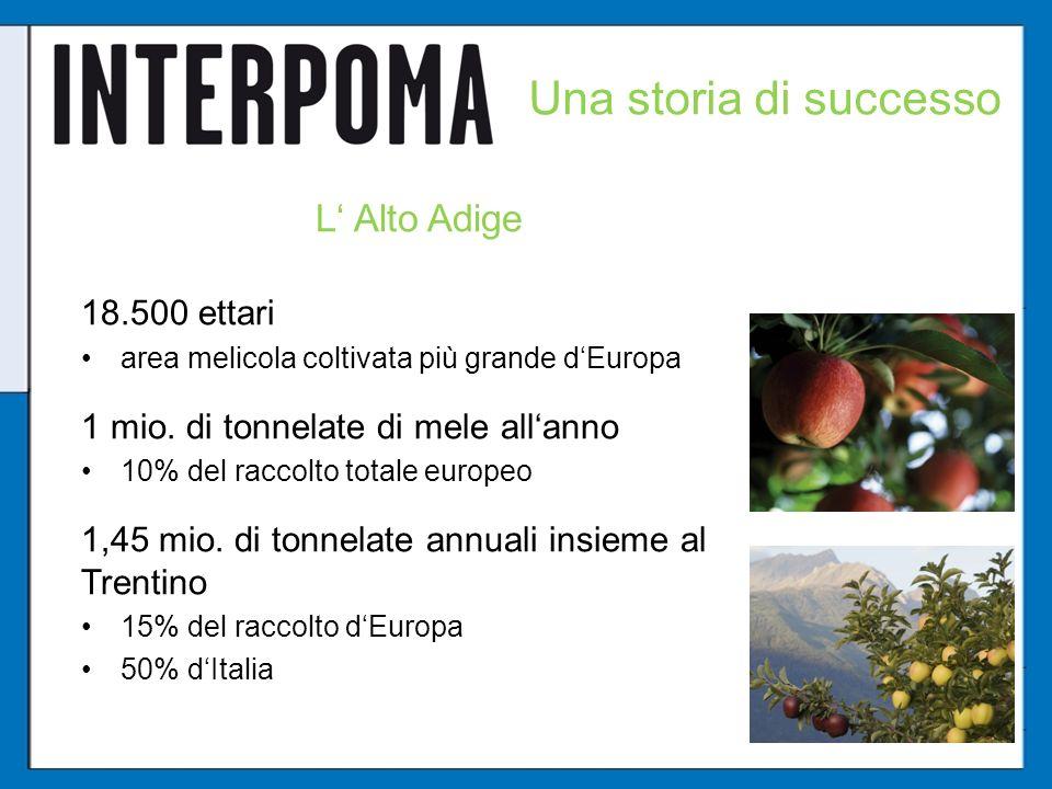 Una storia di successo L Alto Adige 18.500 ettari area melicola coltivata più grande dEuropa 1 mio. di tonnelate di mele allanno 10% del raccolto tota