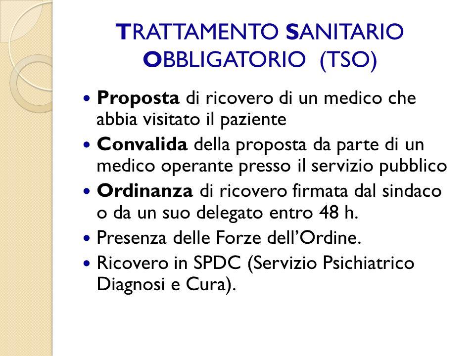 TRATTAMENTO SANITARIO OBBLIGATORIO (TSO) Proposta di ricovero di un medico che abbia visitato il paziente Convalida della proposta da parte di un medi