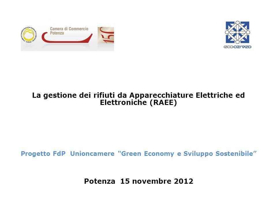 La gestione dei rifiuti da Apparecchiature Elettriche ed Elettroniche (RAEE) Progetto FdP Unioncamere Green Economy e Sviluppo Sostenibile Potenza 15 novembre 2012