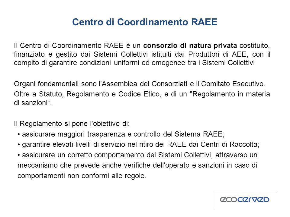 Centro di Coordinamento RAEE Il Centro di Coordinamento RAEE è un consorzio di natura privata costituito, finanziato e gestito dai Sistemi Collettivi istituiti dai Produttori di AEE, con il compito di garantire condizioni uniformi ed omogenee tra i Sistemi Collettivi Organi fondamentali sono lAssemblea dei Consorziati e il Comitato Esecutivo.