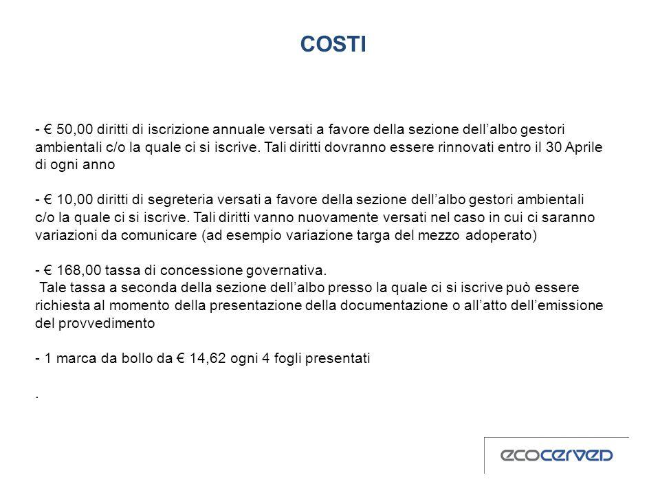 COSTI - 50,00 diritti di iscrizione annuale versati a favore della sezione dellalbo gestori ambientali c/o la quale ci si iscrive.