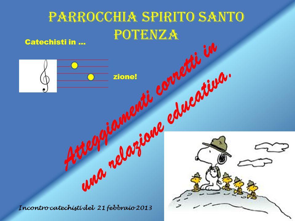 Parrocchia Spirito Santo Potenza Incontro catechisti del 21 febbraio 2013 Catechisti in … zione! Atteggiamenti corretti in una relazione educativa.