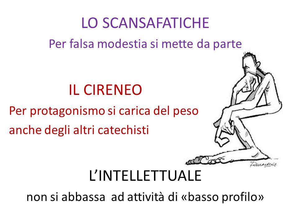 LO SCANSAFATICHE Per falsa modestia si mette da parte IL CIRENEO Per protagonismo si carica del peso anche degli altri catechisti LINTELLETTUALE non s