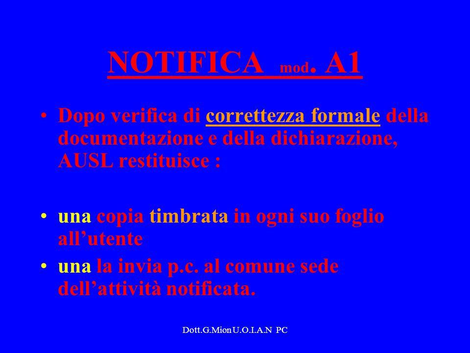 Dott.G.Mion U.O.I.A.N PC NOTIFICA mod. A1 Dopo verifica di correttezza formale della documentazione e della dichiarazione, AUSL restituisce : una copi