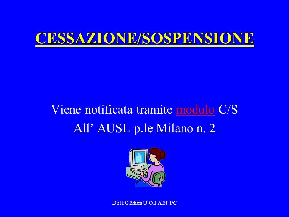 Dott.G.Mion U.O.I.A.N PC CESSAZIONE/SOSPENSIONE Viene notificata tramite modulo C/Smodulo All AUSL p.le Milano n. 2