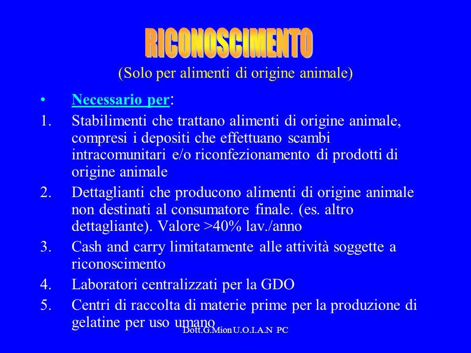 (Solo per alimenti di origine animale) Necessario per : 1.Stabilimenti che trattano alimenti di origine animale, compresi i depositi che effettuano sc