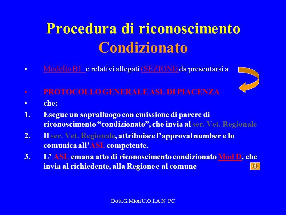 Dott.G.Mion U.O.I.A.N PC Procedura di riconoscimento Condizionato Modello B1 e relativi allegati (SEZIONI) da presentarsi aModello B1 (SEZIONI) PROTOC