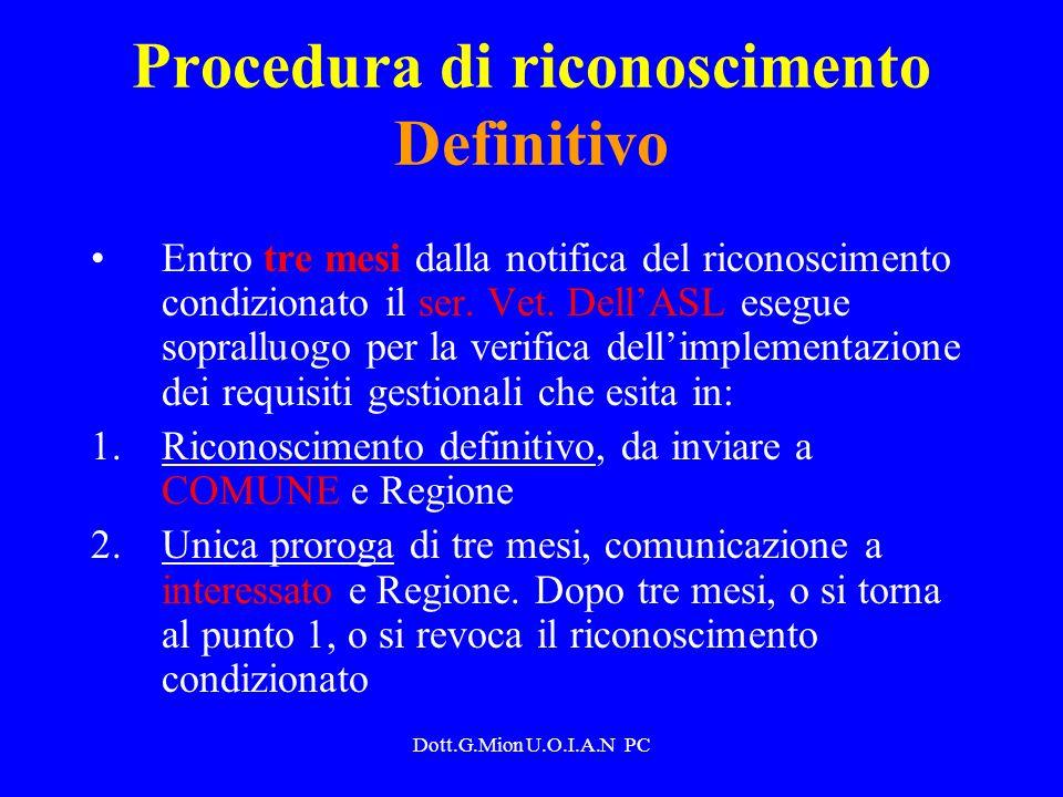 Dott.G.Mion U.O.I.A.N PC Procedura di riconoscimento Definitivo Entro tre mesi dalla notifica del riconoscimento condizionato il ser. Vet. DellASL ese