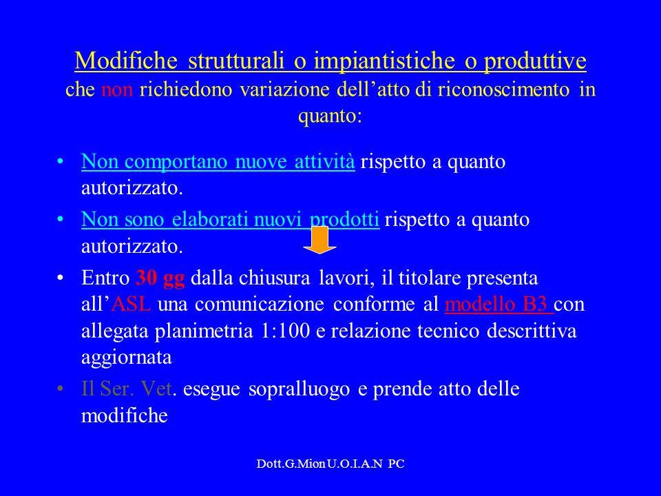 Dott.G.Mion U.O.I.A.N PC Modifiche strutturali o impiantistiche o produttive che non richiedono variazione dellatto di riconoscimento in quanto: Non c