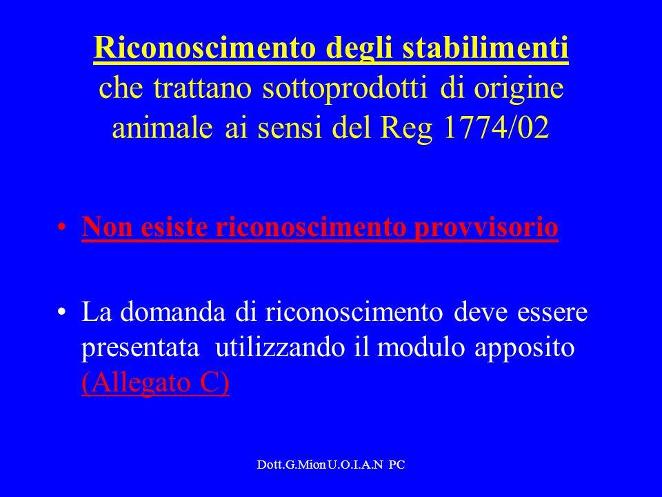 Dott.G.Mion U.O.I.A.N PC Riconoscimento degli stabilimenti che trattano sottoprodotti di origine animale ai sensi del Reg 1774/02 Non esiste riconosci