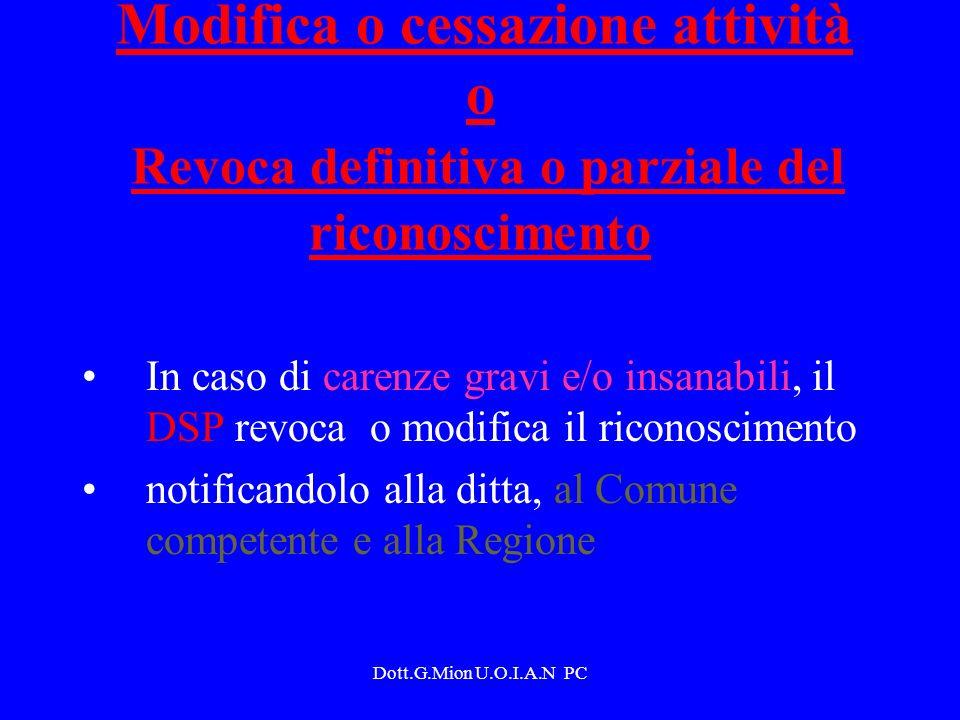 Dott.G.Mion U.O.I.A.N PC Modifica o cessazione attività o Revoca definitiva o parziale del riconoscimento In caso di carenze gravi e/o insanabili, il