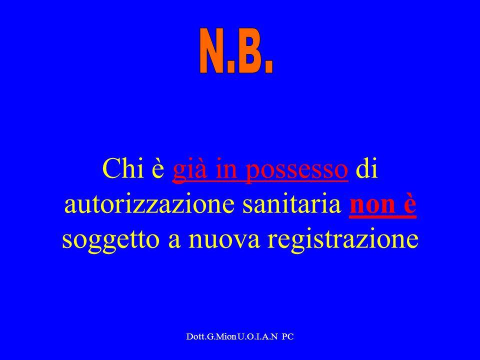Dott.G.Mion U.O.I.A.N PC Procedura di registrazione Per inizio attività, variazione di attività, variazione di titolarità NOTIFICA da presentarsi in triplice copia Az.USL di Piacenza corso Vitt.Emanuele n.