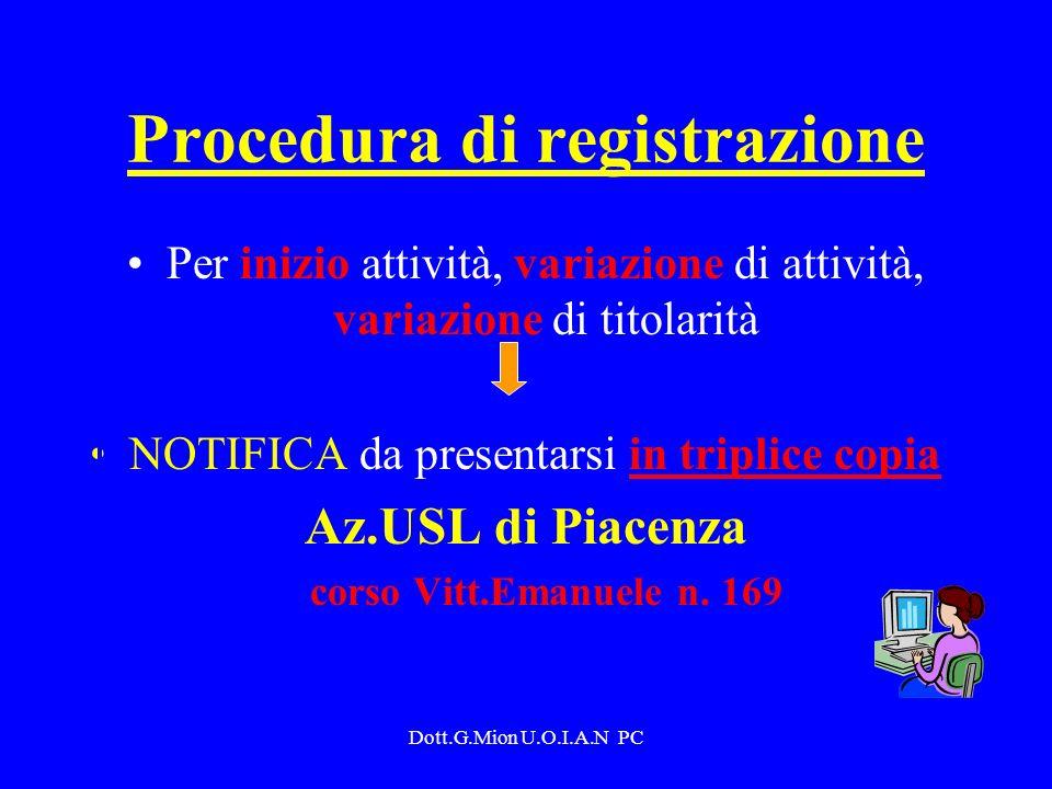 Dott.G.Mion U.O.I.A.N PC Procedura di registrazione Per inizio attività, variazione di attività, variazione di titolarità NOTIFICA da presentarsi in t