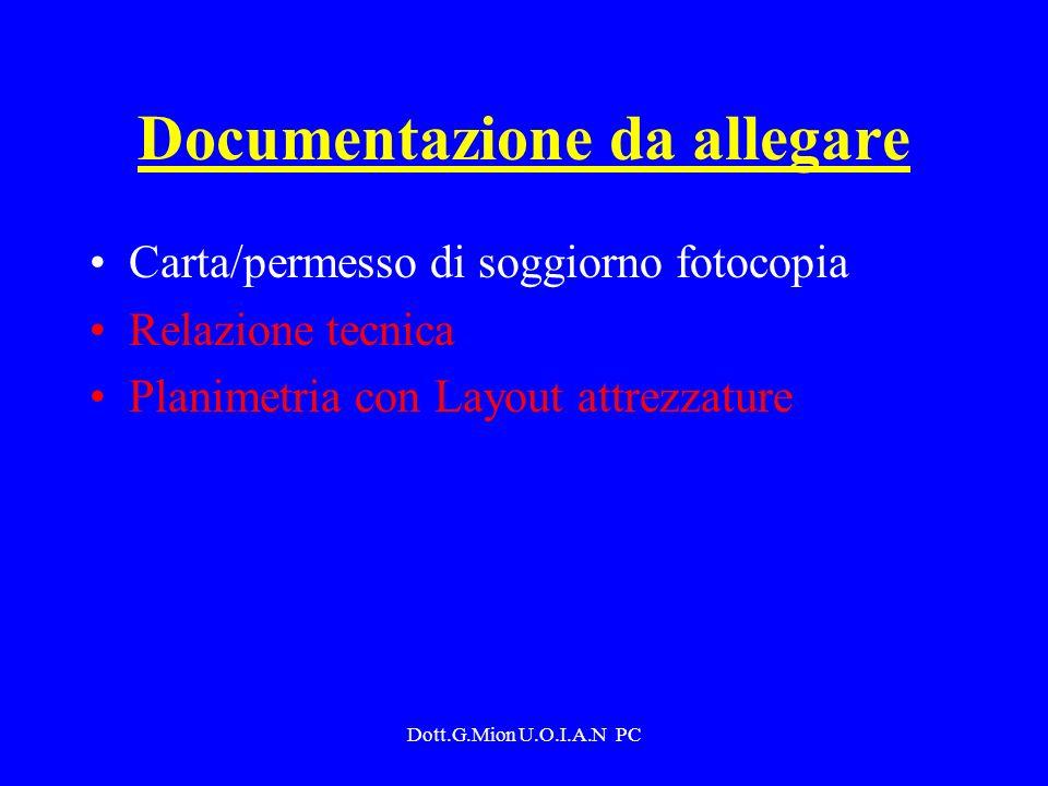 Dott.G.Mion U.O.I.A.N PC Documentazione da allegare Carta/permesso di soggiorno fotocopia Relazione tecnica Planimetria con Layout attrezzature