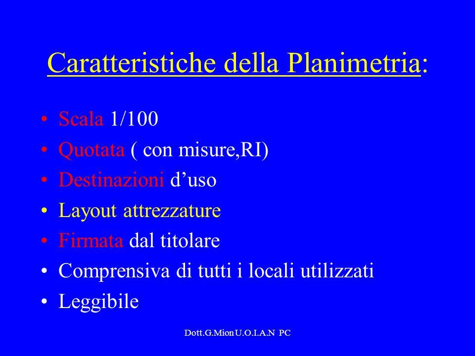 Dott.G.Mion U.O.I.A.N PC Caratteristiche della Planimetria: Scala 1/100 Quotata ( con misure,RI) Destinazioni duso Layout attrezzature Firmata dal tit